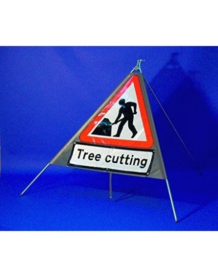 Quazar Classic Roll Up Flexible Men At Work Sign With Tree Cutting Legend