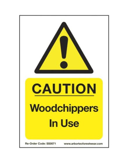 Arbortec 'Caution Woodchippers In Use' Corex Safety Sign