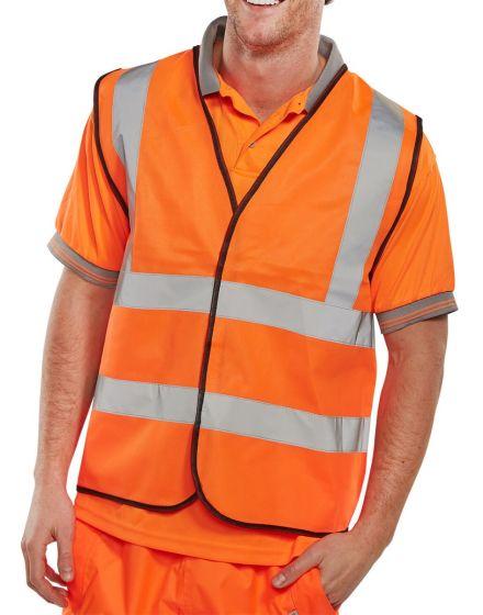 BSEEN Hi Vis Orange Waist Coat Jacket