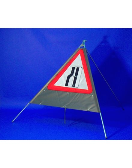 Quazar Classic Roll Up Flexible Road Narrows Sign With Legend Supplement – Reversible