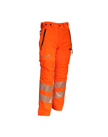 treehog hi-vis orange chainsaw trousers