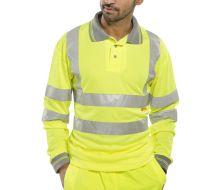 BSEEN Long Sleeve Hi Vis Yellow Polo Shirt