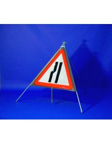 Quazar Classic Roll Up Flexible Road Narrows Sign - Nearside & Offside