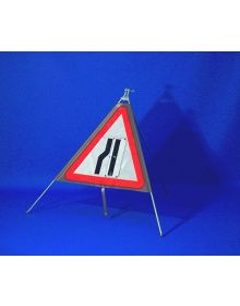 Quazar Classic Roll Up Flexible Road Narrows Sign - Reversible