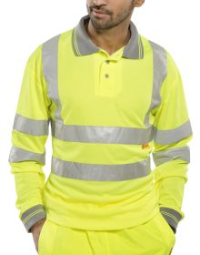 BSEEN Long Sleeve Hi Vis Yellow Polo Shirt